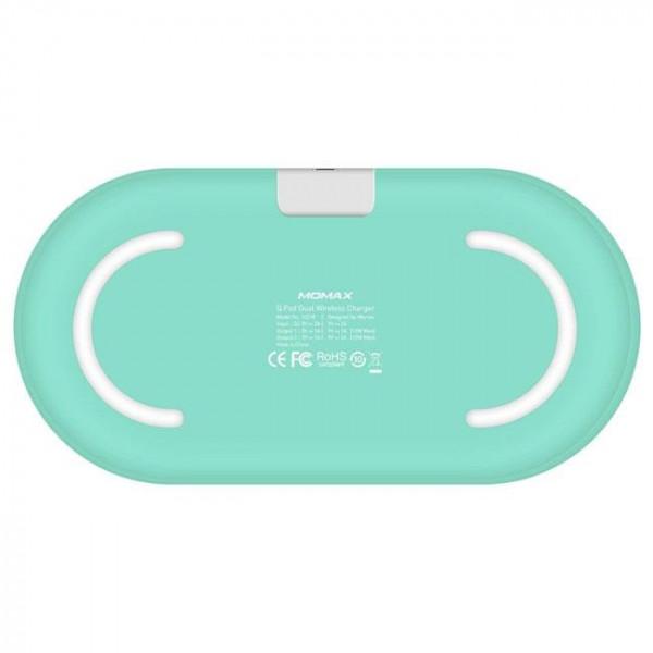 Беспроводное ЗУ Momax Q.PAD Dual Quick Charge 3.0 (UD10B) (Turquoise)