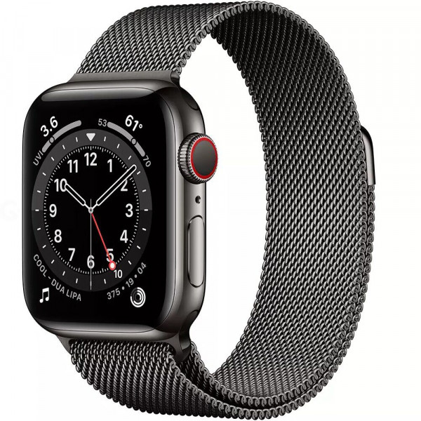 Apple Watch Series 6 GPS + LTE 44mm Graphite Stainless Steel Case w.Graphite Milanese Loop (M07R3/M09J3)