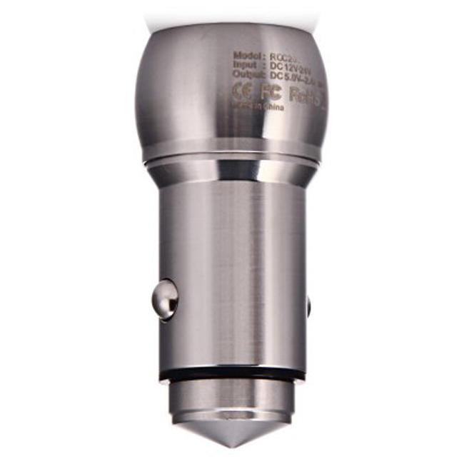 Автомобильное зарядное устройство Remax 2.4A 2-USB (Silver) (RCC205_1)