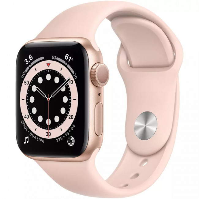 Apple Watch Series 6 GPS 44mm Gold Aluminum Case with Pink Sand Sport Band (M00E3)