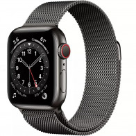 Apple Watch Series 6 GPS + LTE 44mm Graphite Stainless Steel Case w.Graphite Milanese Loop (M07R3/M09J3)