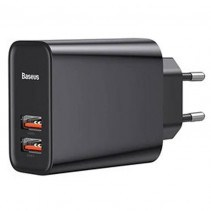 Сетевое ЗУ  Baseus Speed Dual QC3.0 Quick charger U+U 30W EU Black (CCFS-E01)
