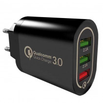 Сетевое ЗУ Qualcomm Quick charge 3.0 37W 3USB Black (BK-373)