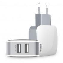 Автомобильное ЗУ Baseus USB Wall Charger 2xUSB Letour 2.4A White/Gray (ZCL2B-B02)