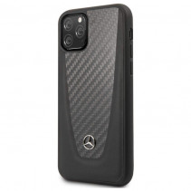 Чехол Mercedes Benz Leather Hard Case Carbon Fiber for iPhone 11 Pro - Black