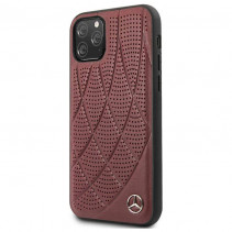 Чехол Mercedes Benz Leather Hard Case Quilted Perforated for iPhone 11 Pro - Burgundy