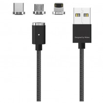 Магнитный кабель Magnetic Cable 3in1 Lighting+Micro+Type C Black