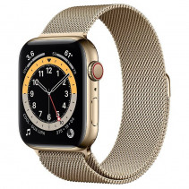 Apple Watch Series 6 GPS + LTE 44mm Gold Stainless Steel Case w.Gold Milanese Loop (M07P3)