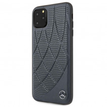 Чехол Mercedes Benz Leather Hard Case Quilted Perforated Genuine for iPhone 11 Pro Max - Blue