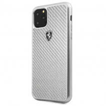 Чехол Ferrari Carbon Hard Case Heritage for iPhone 11 Pro Max - Silver