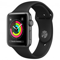 Apple Watch Series 3 GPS 38mm Space Gray Aluminum Case with Black Sport Band (MTF02)