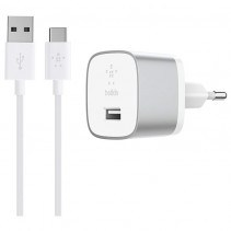 Сетевое ЗУ Belkin USB-3.0 Quick Charge with USB-A to USB-C Cable 1.2m 18W Silver (F7U034VF04-SLV)