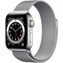 Apple Watch Series 6 GPS + LTE 40mm Silver Stainless Steel Case w.Silver Milanese Loop (M02V3)