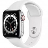 Apple Watch Series 6 GPS + LTE 40mm Silver Stainless Steel Case w. White Sport Band (M02U3/M06T3)