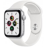 Apple Watch Series SE GPS 44mm Silver Aluminum Case with White Sport Band (MYDQ2)