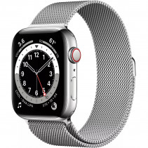 Apple Watch Series 6 GPS + LTE 44mm Silver Stainless Steel Case with Silver Milanese Loop (M07M3)