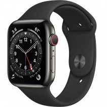 Apple Watch Series 6 GPS + LTE 44mm Graphite Stainless Steel Case with Black Sport B. (M07Q3)