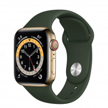 Apple Watch Series 6 GPS + LTE 40mm Gold Stainless Steel Case w.Cyprus Green Sport Band (M06V3)