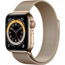 Apple Watch Series 6 GPS + LTE 40mm Gold Stainless Steel Case w.Gold Milanese Loop (M02X3)