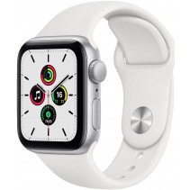 Apple Watch Series SE GPS 40mm Silver Aluminum Case with White Sport Band (MYDM2)