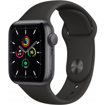Apple Watch Series SE GPS 40mm Spase Gray Aluminum Case with Black Sport Band (MYDP2)