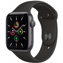 Apple Watch Series SE GPS 44mm Spase Gray Aluminum Case with Black Sport Band (MYDT2)