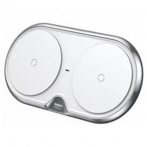 Беспроводное ЗУ Baseus Dual Wireless Charger (WXXHJ-A0S) на два устройства (Silver)