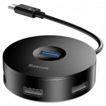 Адаптер Baseus Round box HUB adapter (Type-C to USB3.0*1+USB2.0*3) Black (CAHUB-G01)