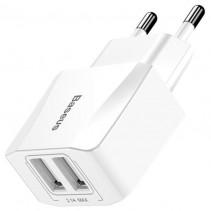 Сетевое ЗУ Baseus Mini Dual-U Charger (EU) 2.1A White (CCALL-MN02)