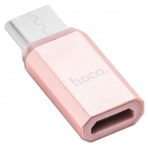 Переходник Hoco microUSB to Type-C (Gray)