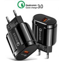 Сетевое ЗУ Qualcomm Quick Charge 3.0 19W USB Black (QC-007)
