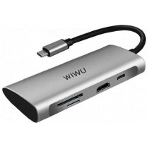 Адаптер Wiwu Alpha 731HP  3*USB, HDMI 4K, Type c, SD, micro SD Gray
