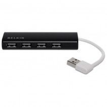 Концентратор Belkin USB 2.0, Ultra-Slim Travel, 4 порта, пассивный без БП, Black