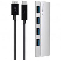 Концентратор Belkin USB 3.0, Ultra-Slim Metal, 4 порта + USB-C кабель, активный с БП, Silver (F4U088vf)